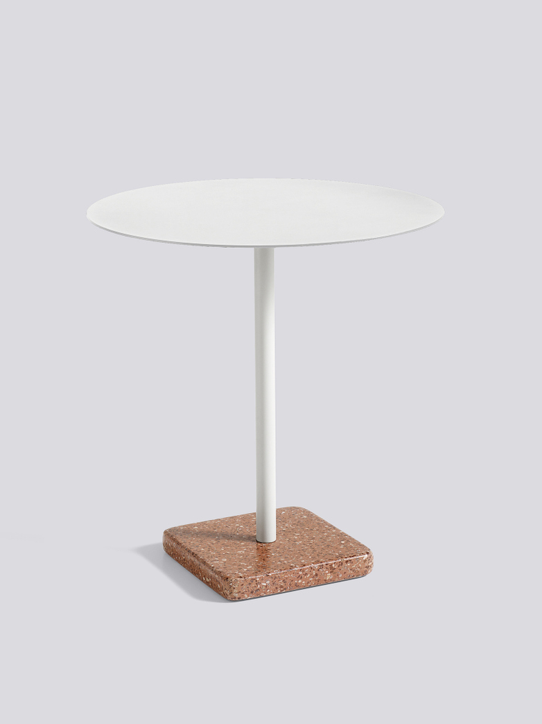 Terrazzo Round Table - Red Terrazzo - Sky grey powder coated steel