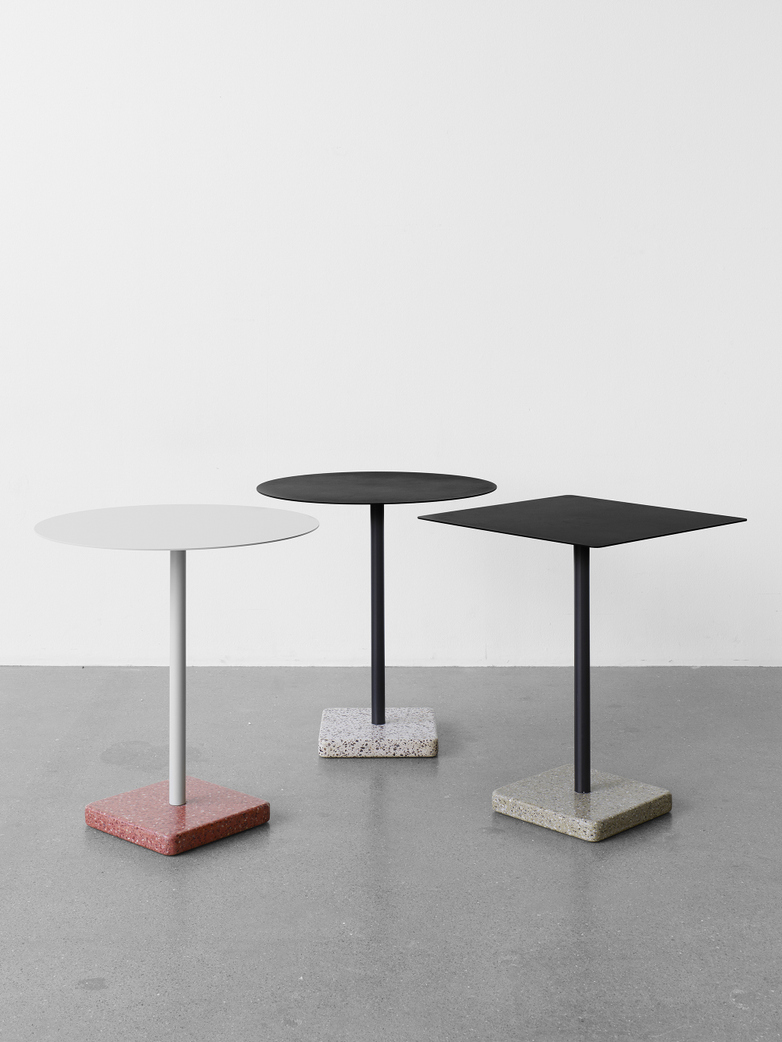 Terrazzo Square Table - Red Terrazzo - Sky grey powder coated steel