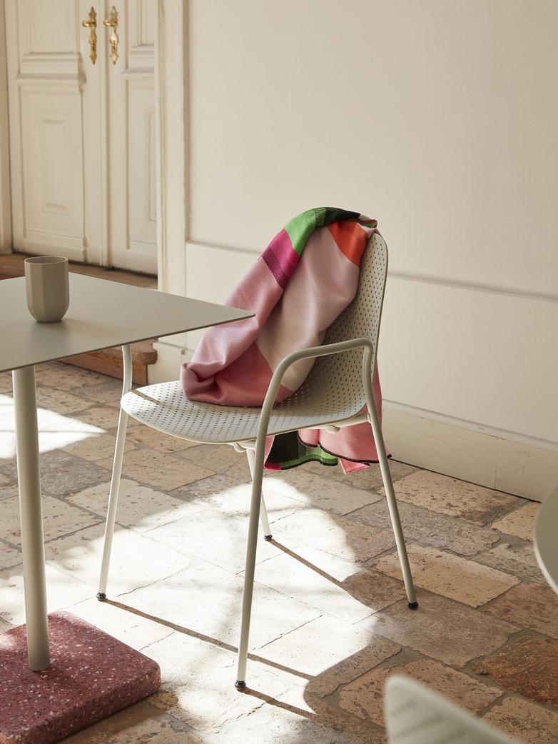 Terrazzo Square Table - Red Terrazzo - Sky grey powder coated steel