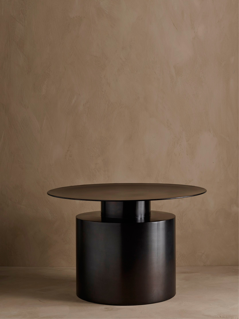 Pillar Coffee Table – Burned Black – Low