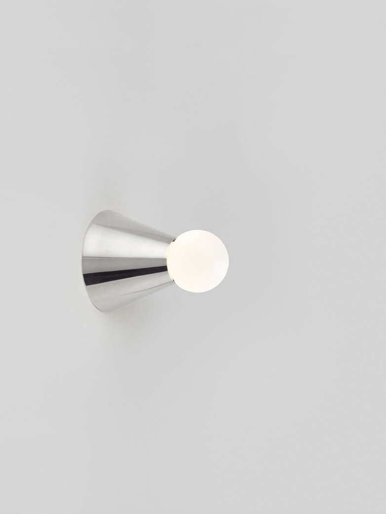 Cone Light Wall/Ceiling Mounted - Polished Nickel-plated Brass