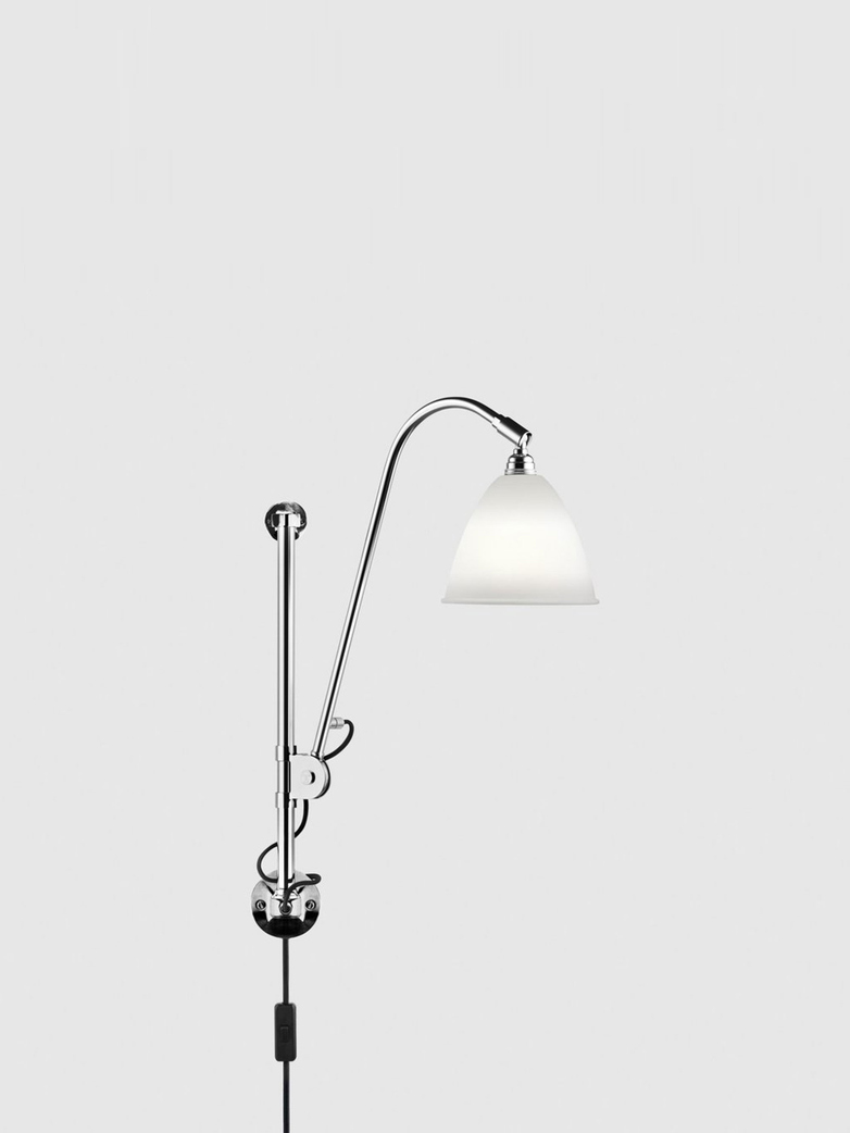 Bl5 Wall Lamp – Chrome Base – Bone China White