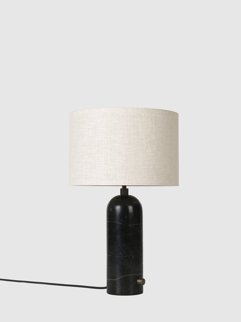 Gravity Table Lamp – Black Marble Base – Canvas – Small