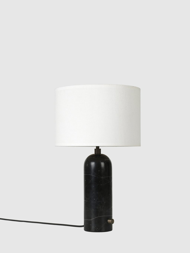 Gravity Table Lamp – Black Marble Base – White – Small