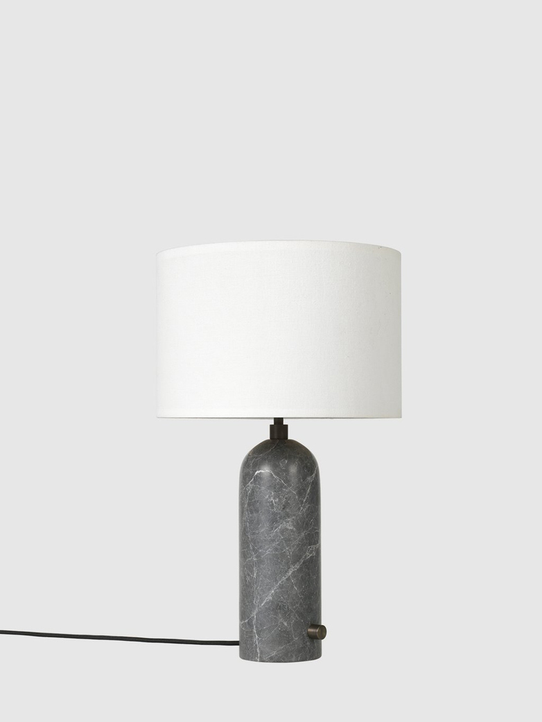 Gravity Table Lamp – Grey Marble Base – White – Small