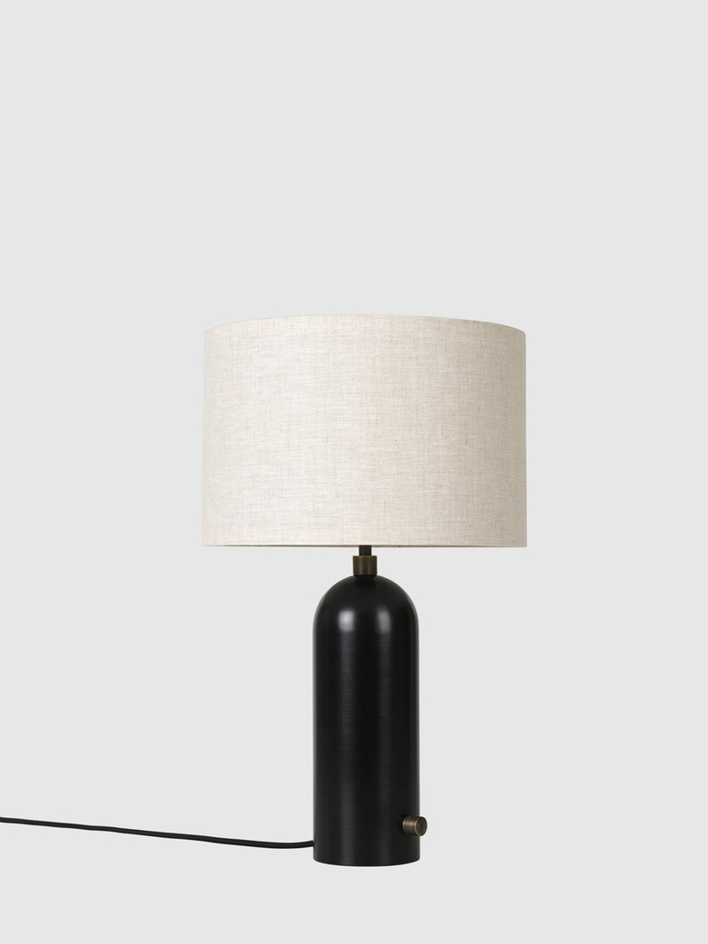 Gravity Table Lamp - Small - Blackened Steel Base - Canvas