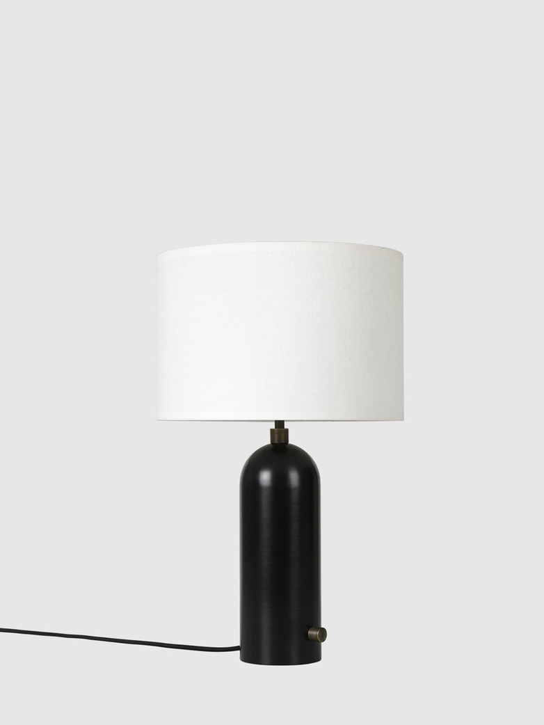 Gravity Table Lamp – Blackened Steel Base – White – Small