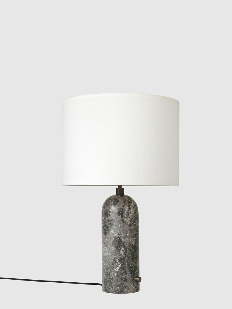 Gravity Table Lamp – Grey Marble Base – White – Large