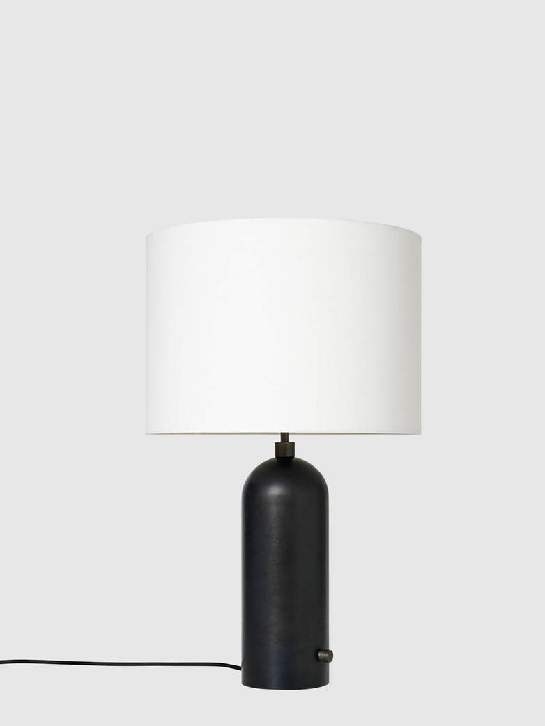Gravity Table Lamp – Blackened Base – White – Large