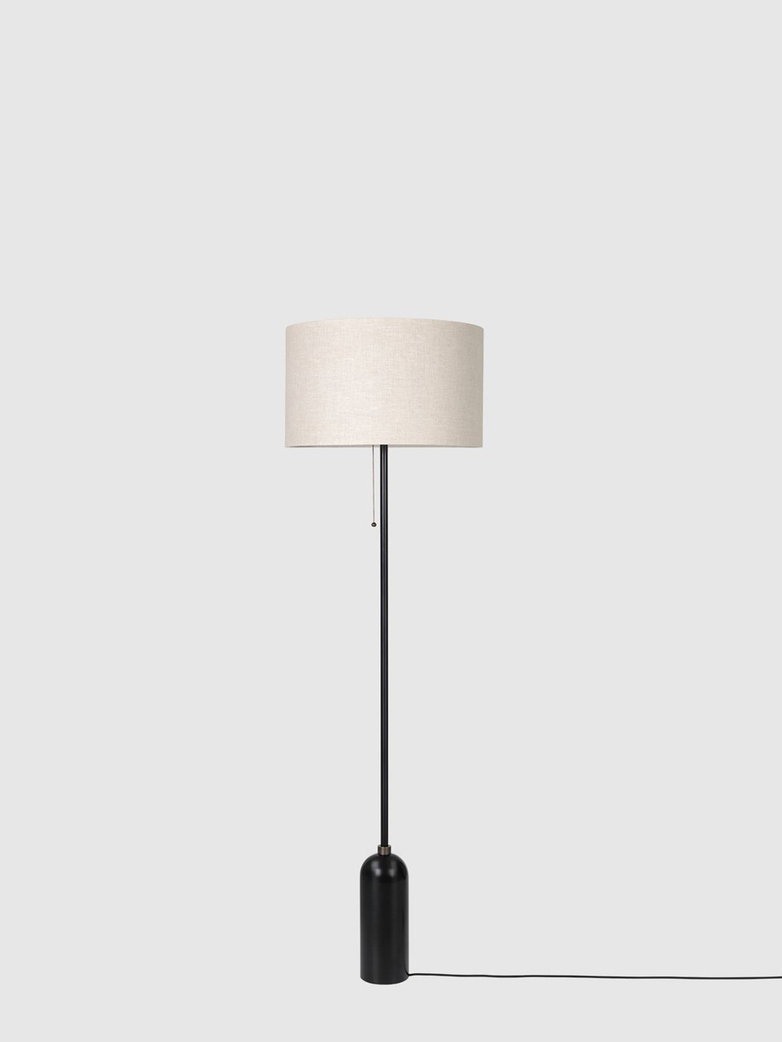 Gravity Floor Lamp – Blackened Steel Base – Canvas
