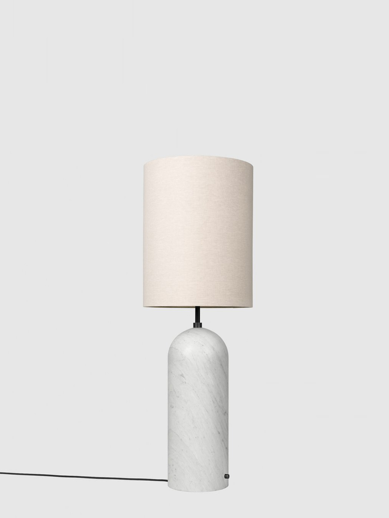 Gravity Floor Lamp XL – White Marble Base – Canvas – High
