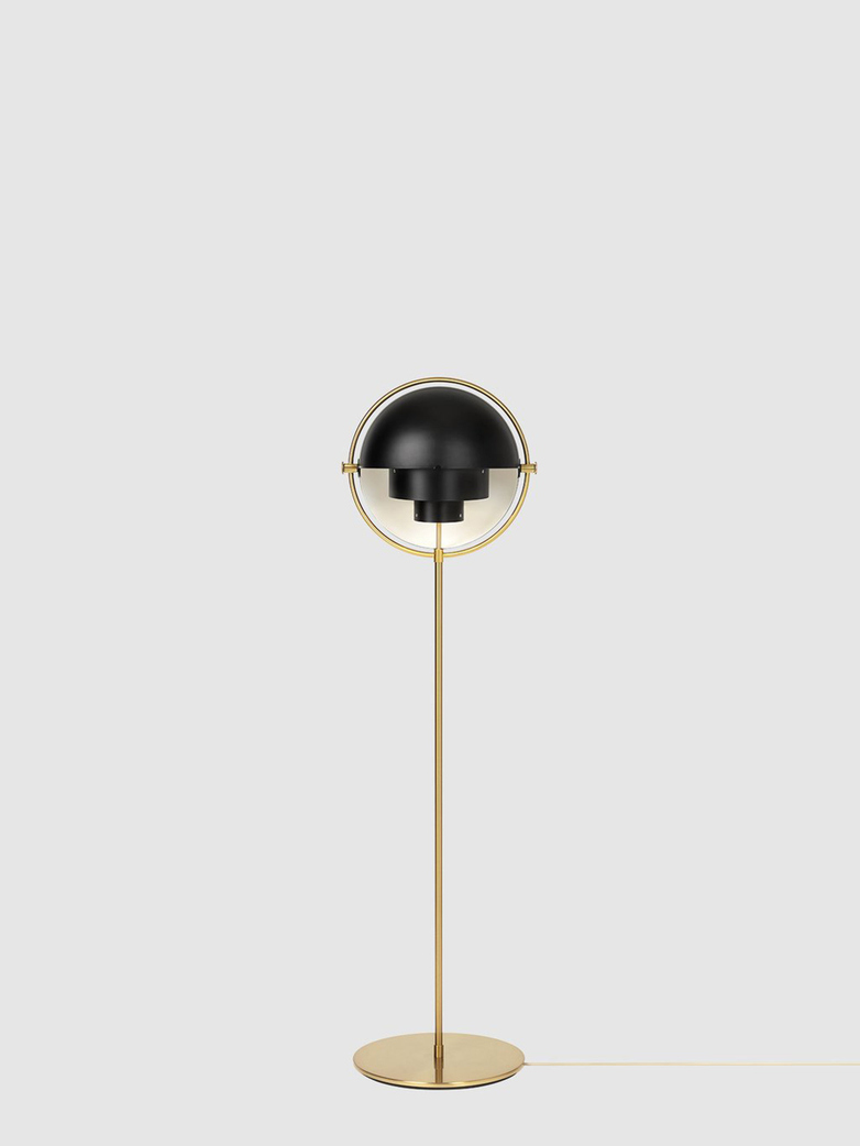 Multi-Lite Floor Lamp – Brass Base – Black