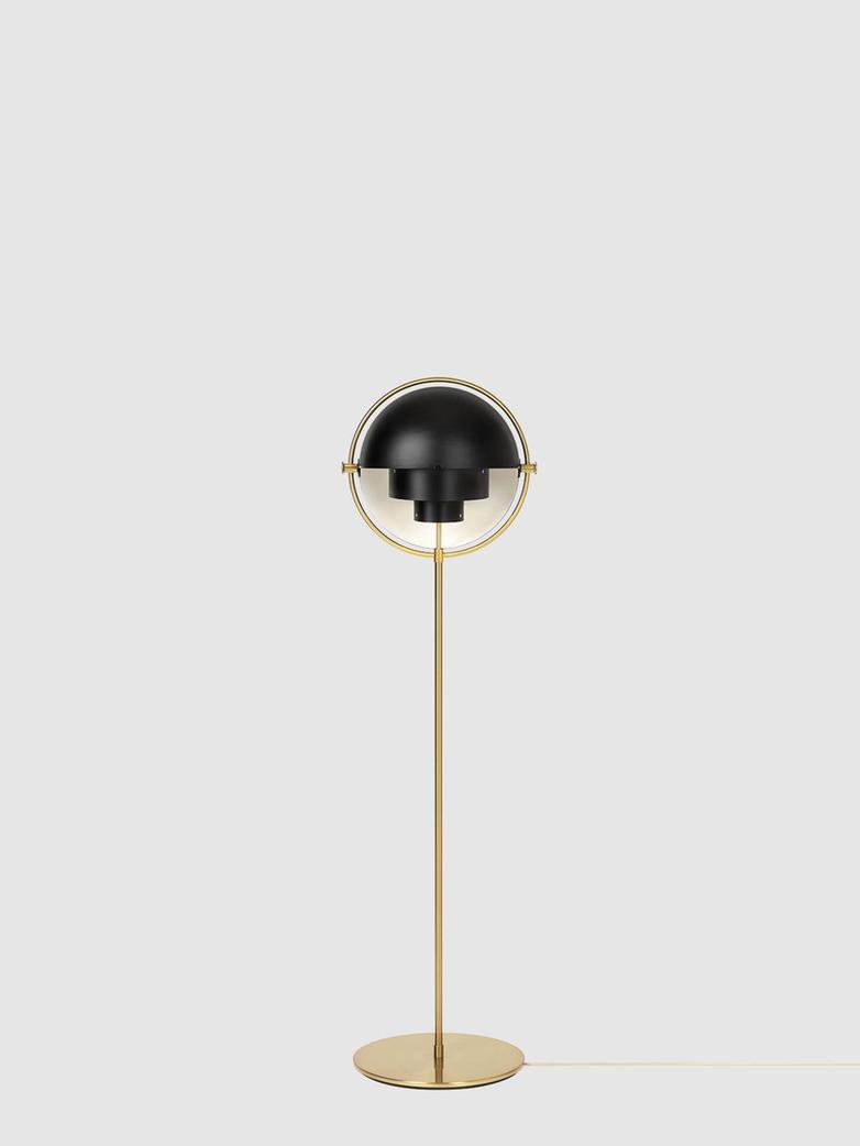 Multi-Lite Floor Lamp – Brass Base – Black