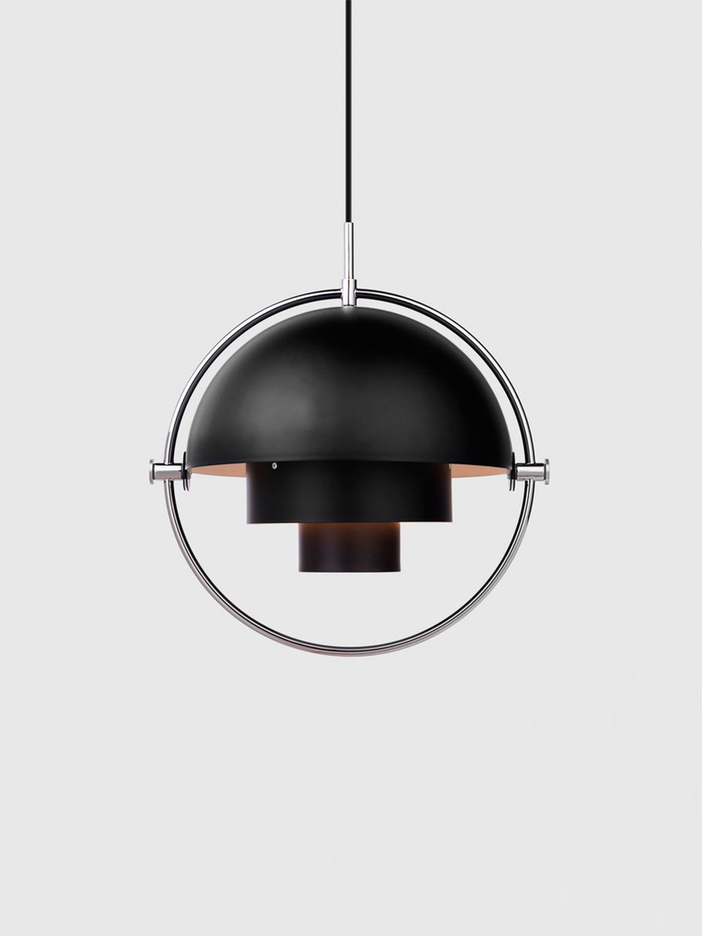 Multi-Lite Pendant – Chrome Base – Black Semi Matt
