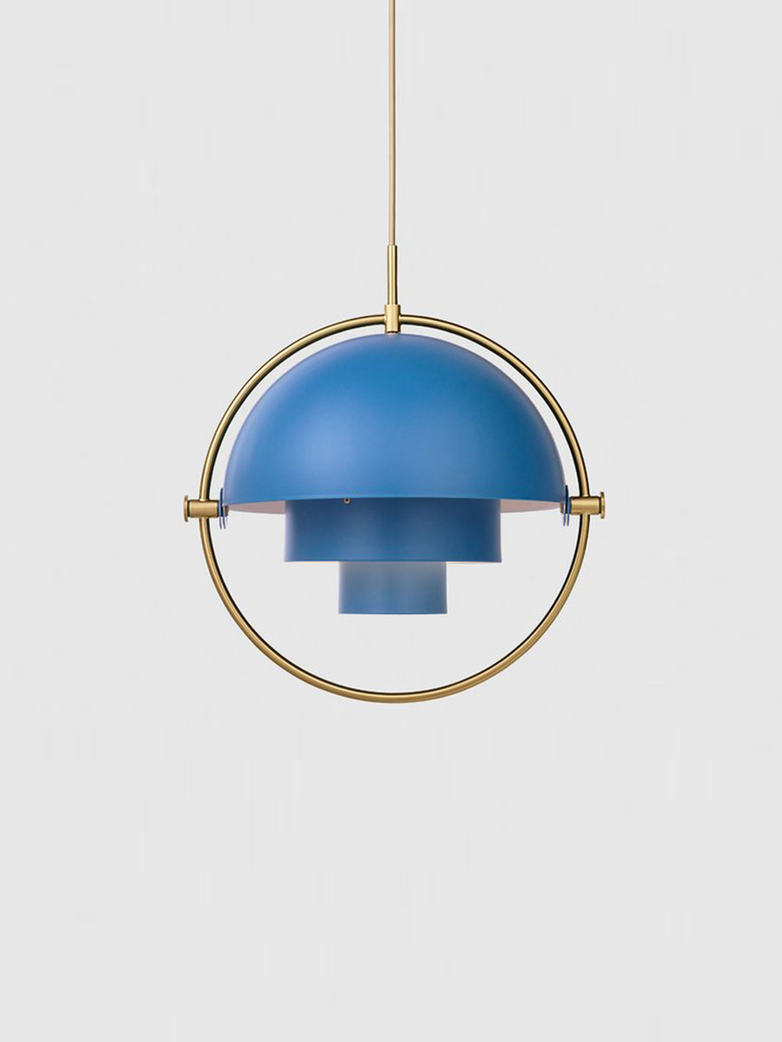 Multi-Lite – Pendant – Brass Base – Nordic Blue Matt