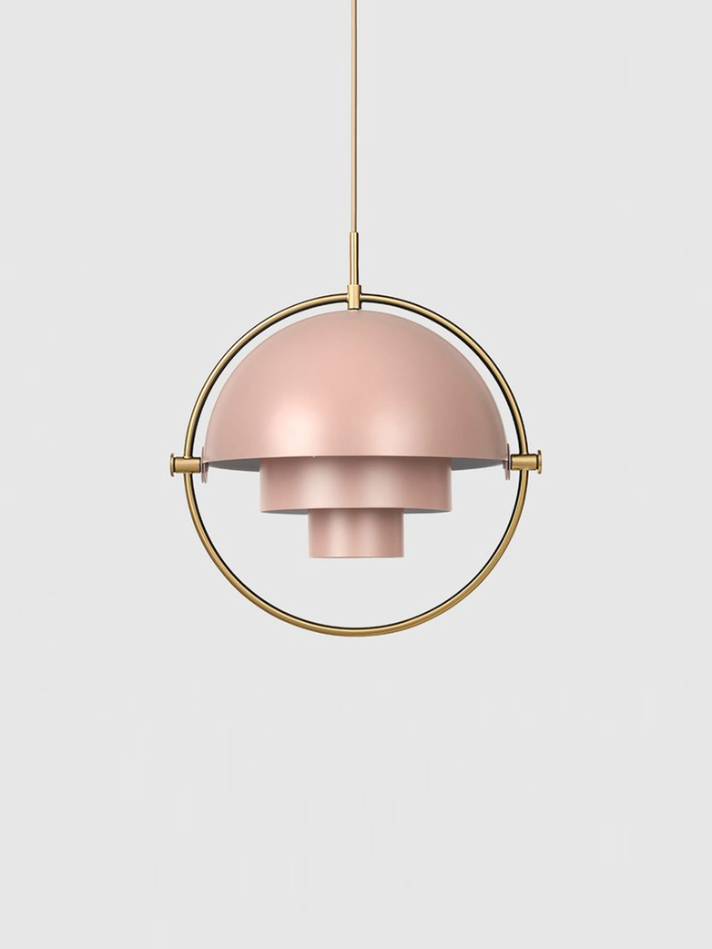 Multi-Lite – Pendant – Brass Base – Rose Dust Semi Matt