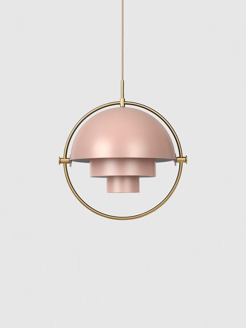 Multi-Lite – Pendant – Brass Base – Rose Dust Semi Matt