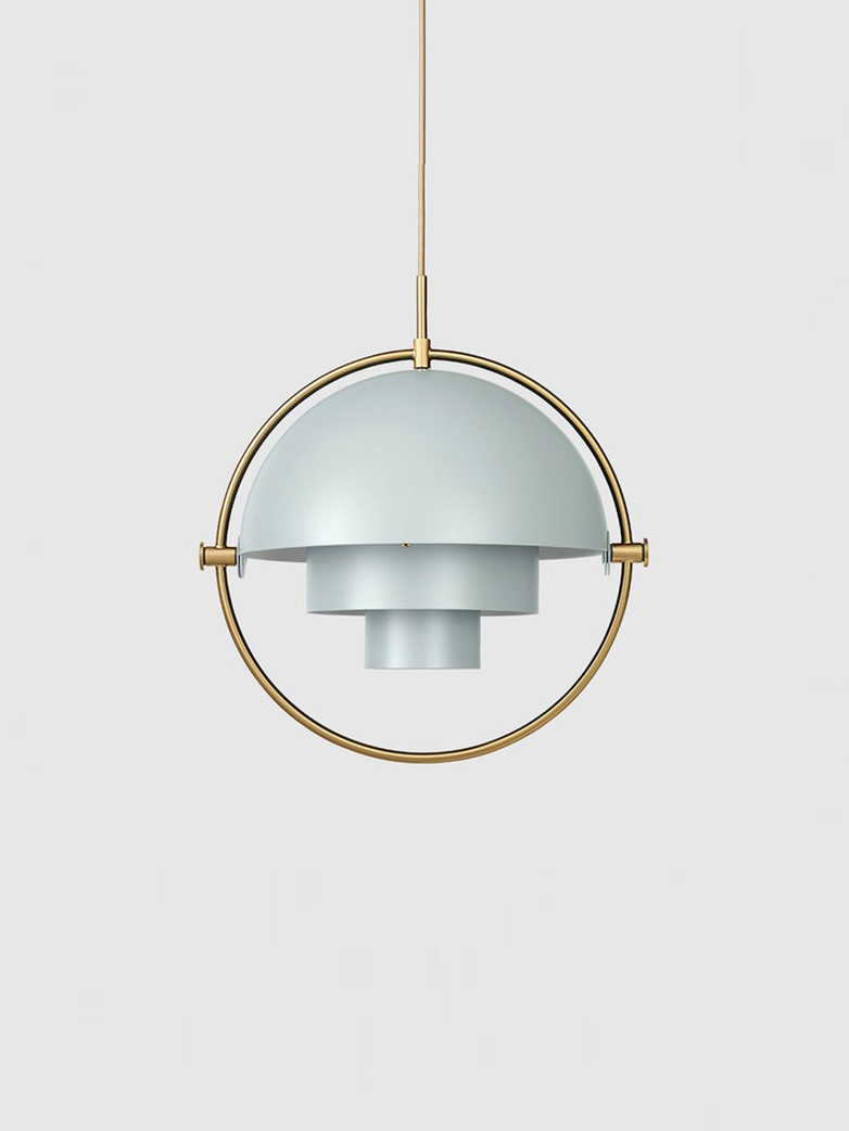 Multi-Lite – Pendant – Brass Base – Sea Grey Semi Matt