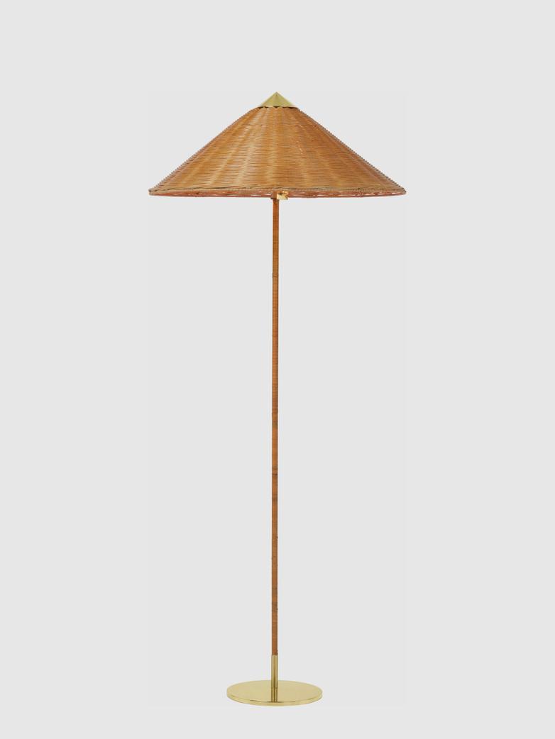 9602 Floor Lamp - Brass Base - Wicker Willow