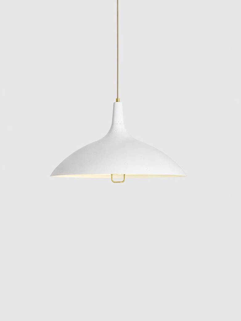 1965 Pendant – Brass Base – White Semi Matt
