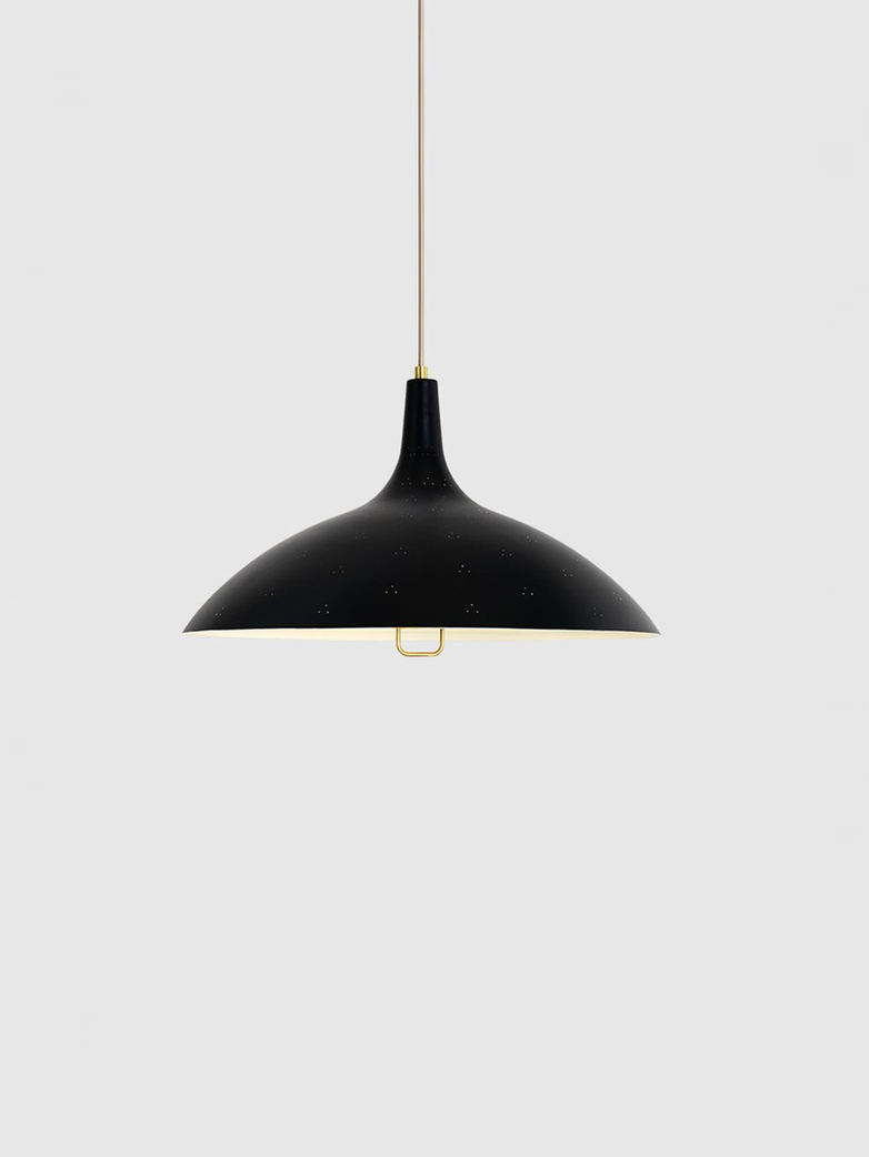 1965 Pendant – Brass Base – Soft Black Semi Matt