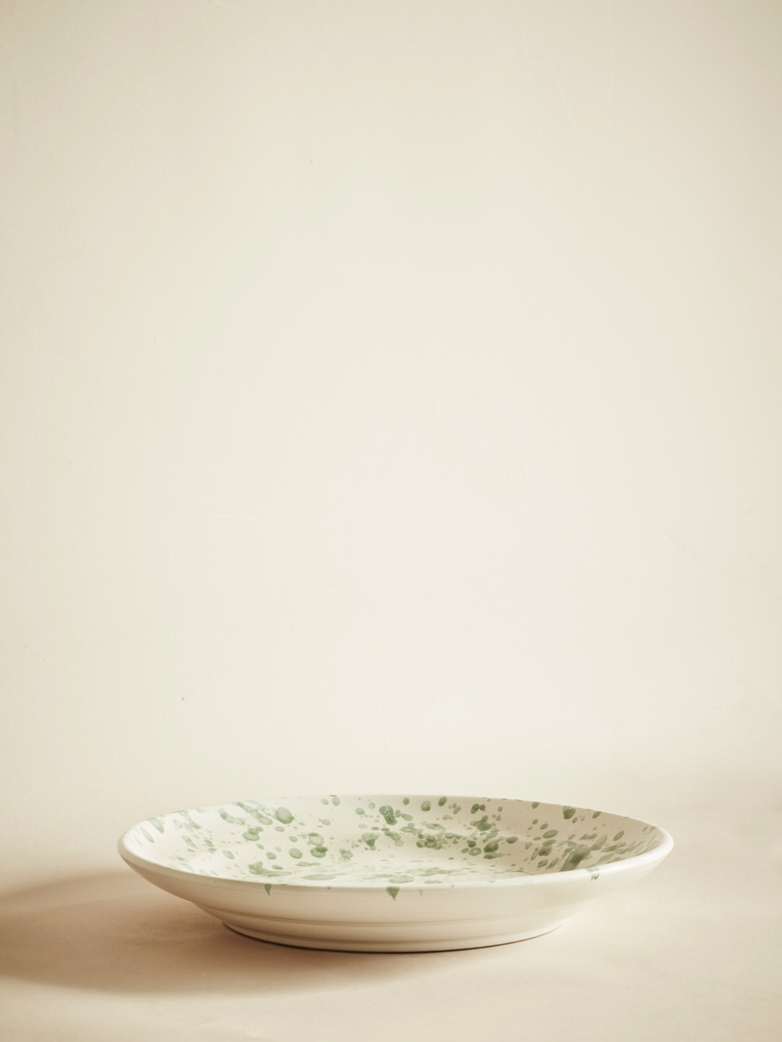 Spruzzi Vivente – Dinner Plate – Creme/Green – Large