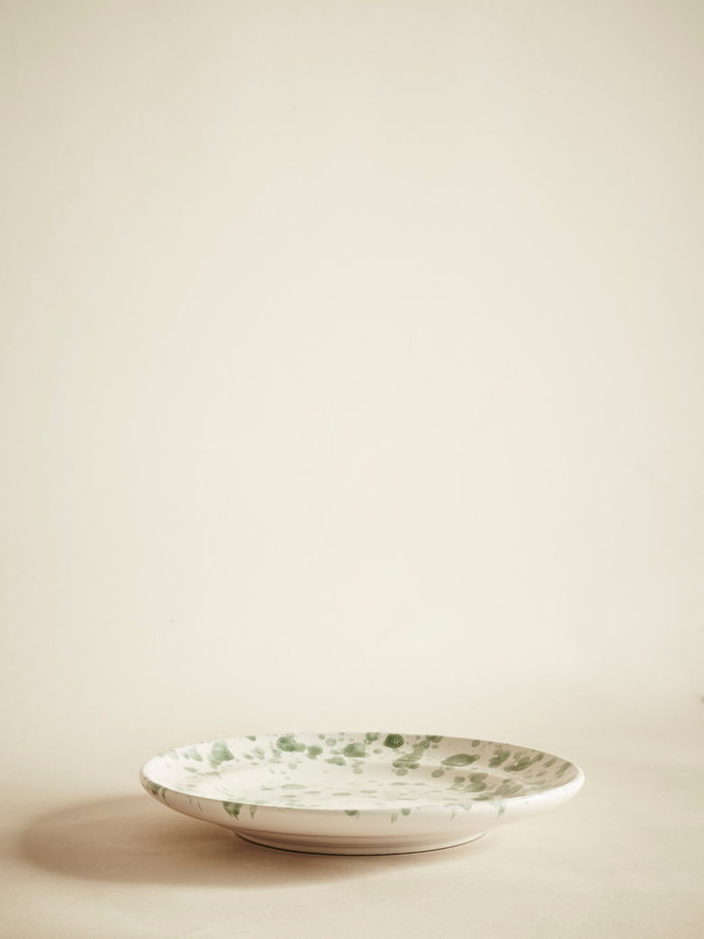 Spruzzi Vivente - Dinner Plate - Creme/Green – Medium