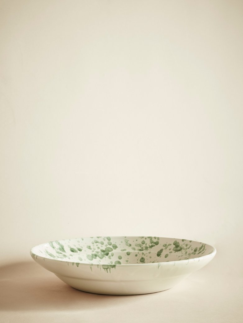 Spruzzi Vivente – Serving Bowl – Green on Creme – Medium