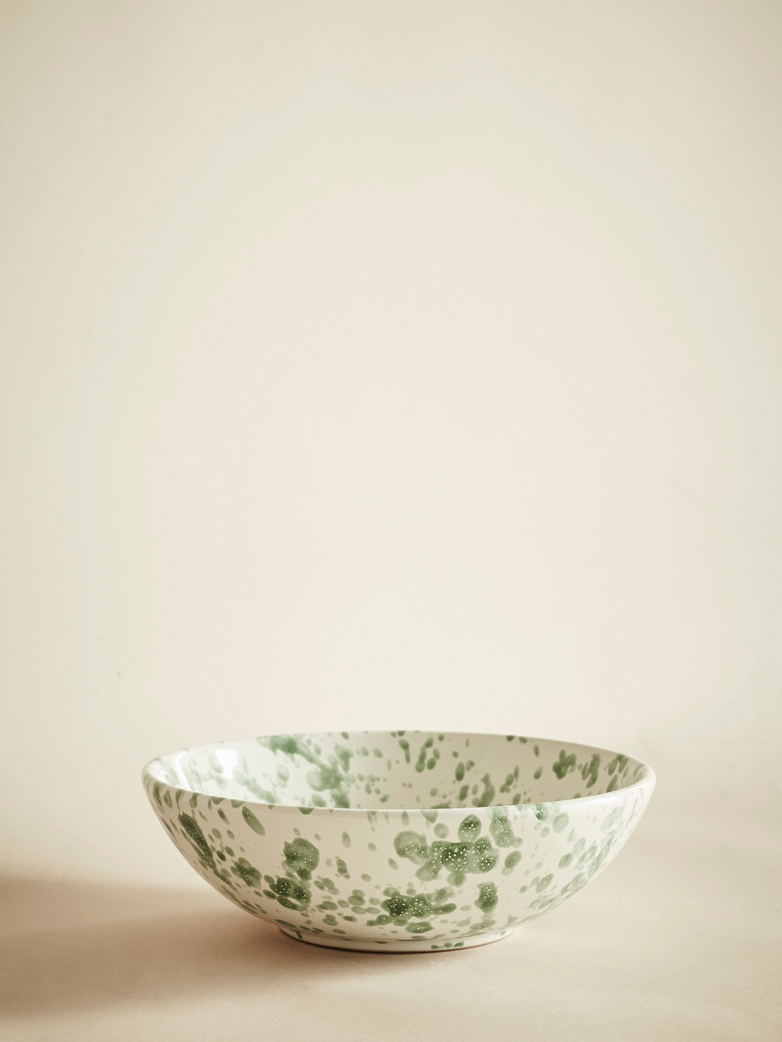 Spruzzi Vivente – Splatter Bowl – Creme/Green – Small