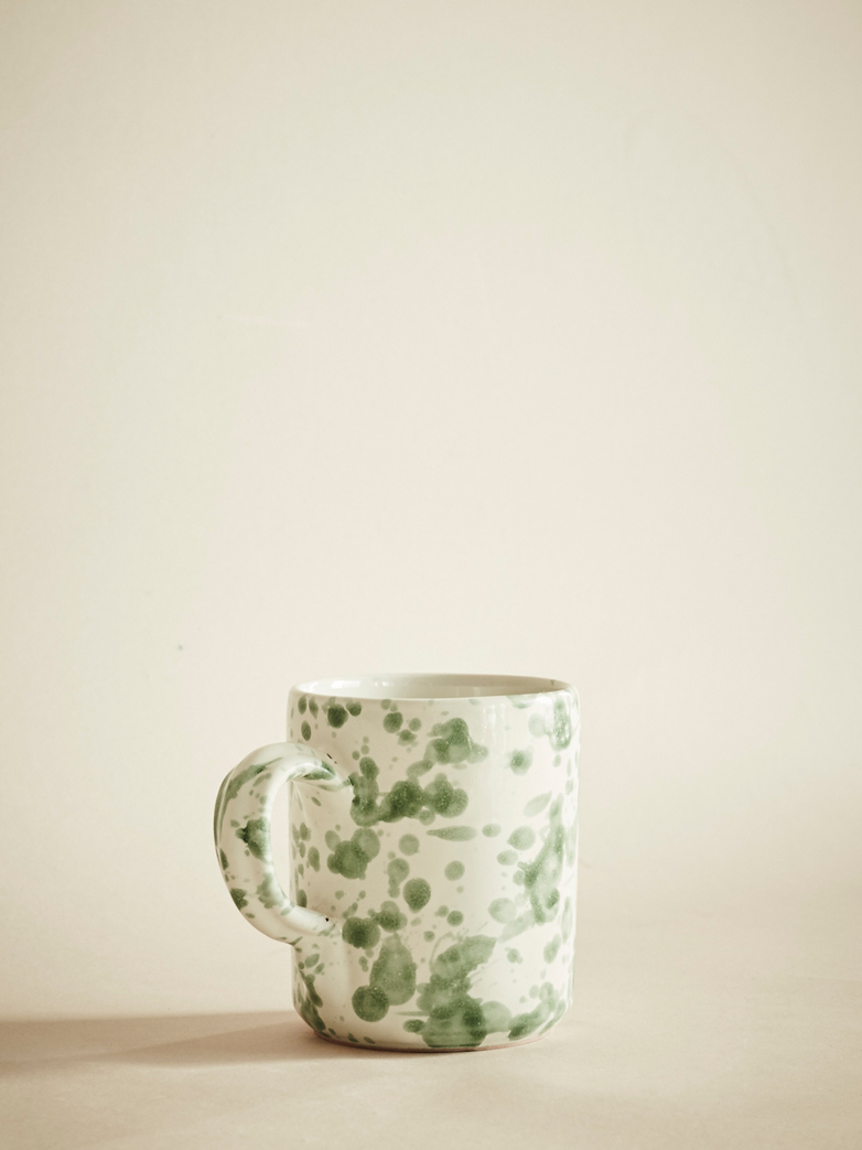 Spruzzi Vivente – Mug with Handle – Green on Creme