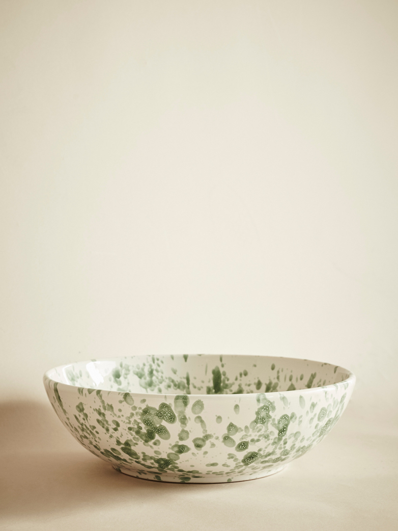 Spruzzi Vivente – Splatter Bowl – Green on Creme – Large