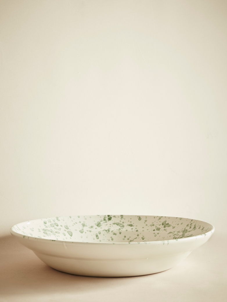 Spruzzi Vivente - Big Serving Bowl - Green on Creme