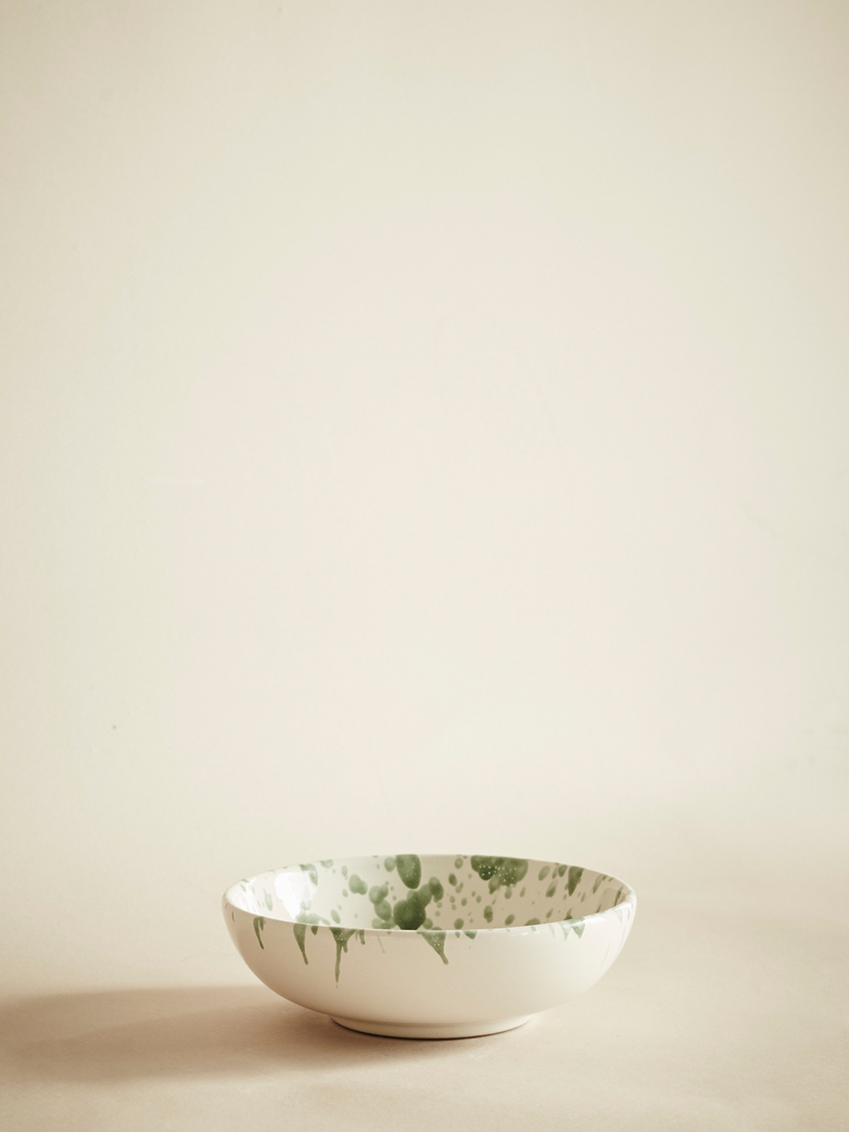 Spruzzi Vivente - Small Bowl - Green on Creme