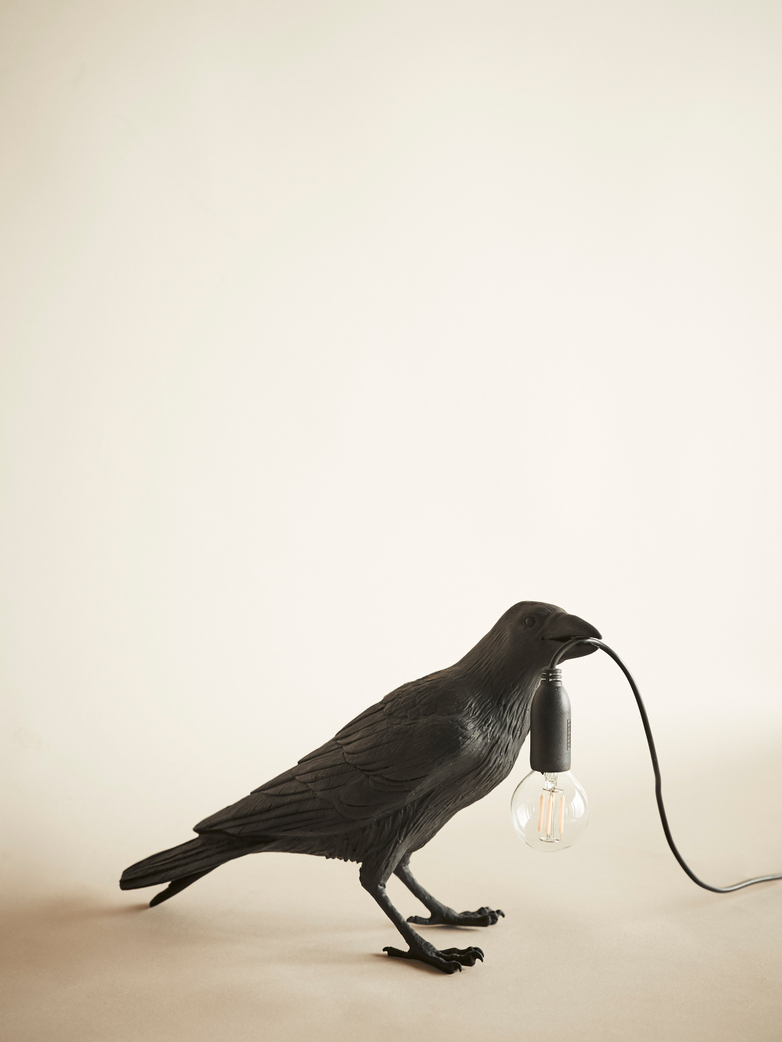 Bird Lamp Waiting – Black