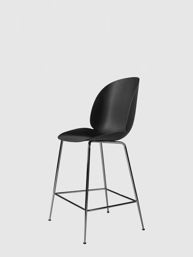 Beetle Bar Chair – Conic Black Chrome Base – Black – 63