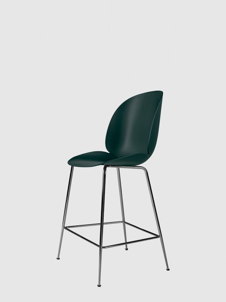 Beetle Bar Chair – Conic Black Chrome Base – Dark Green – 63