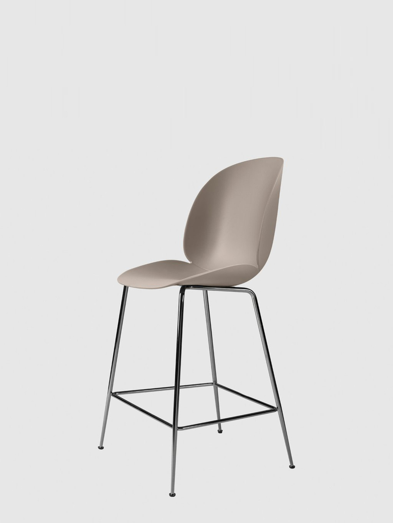Beetle Bar Chair – Conic Black Chrome Base – New Beige – 63