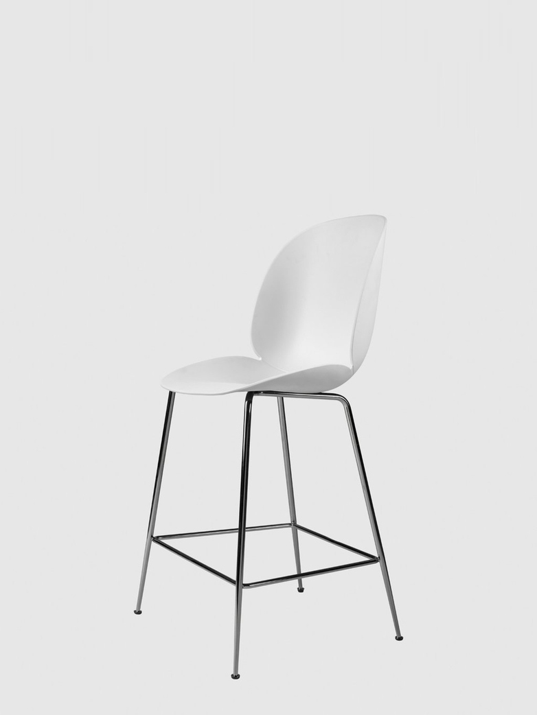 Beetle Bar Chair – Conic Black Chrome Base – White – 63