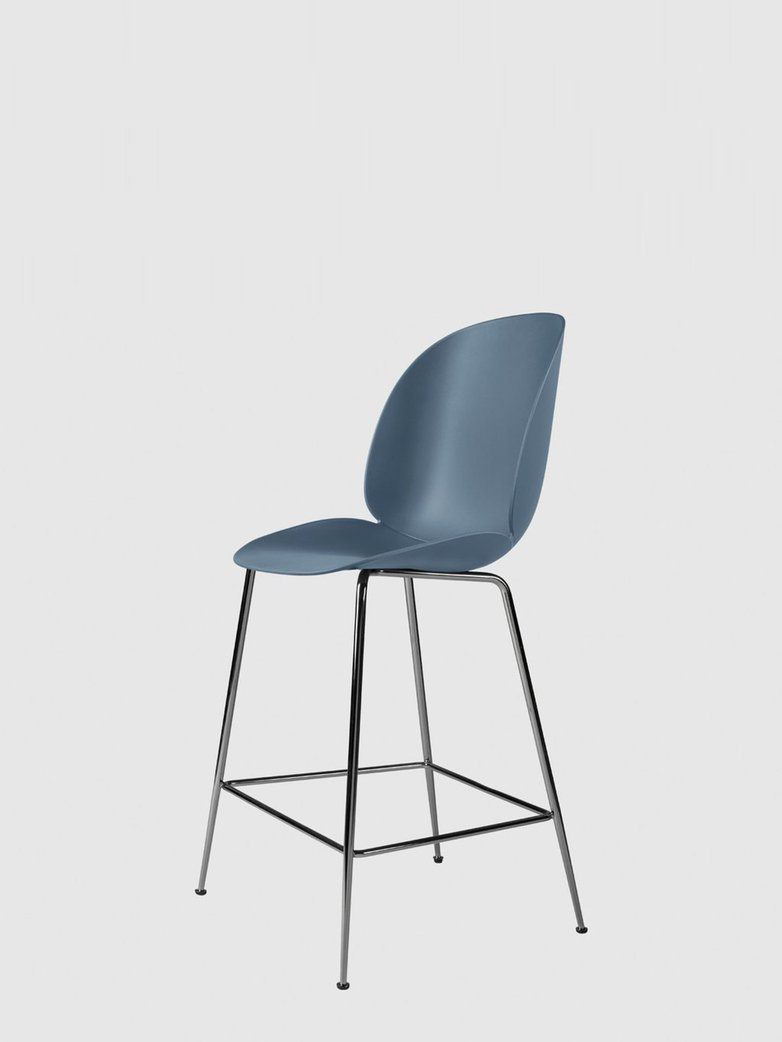 Beetle Bar Chair – Conic Black Chrome Base – Smoke Blue – 63
