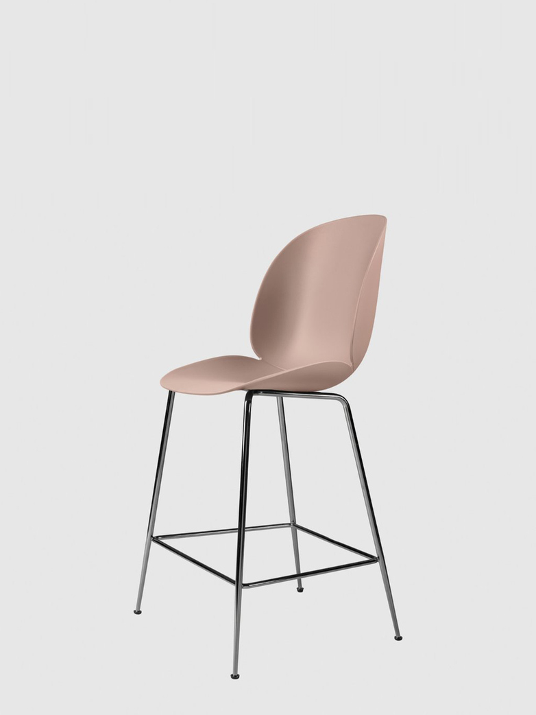 Beetle Bar Chair – Conic Black Chrome Base – Sweet Pink – 63