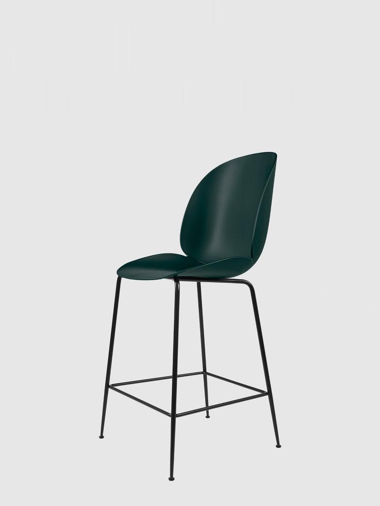 Beetle Bar Chair – Conic Black Base – Dark Green – 63