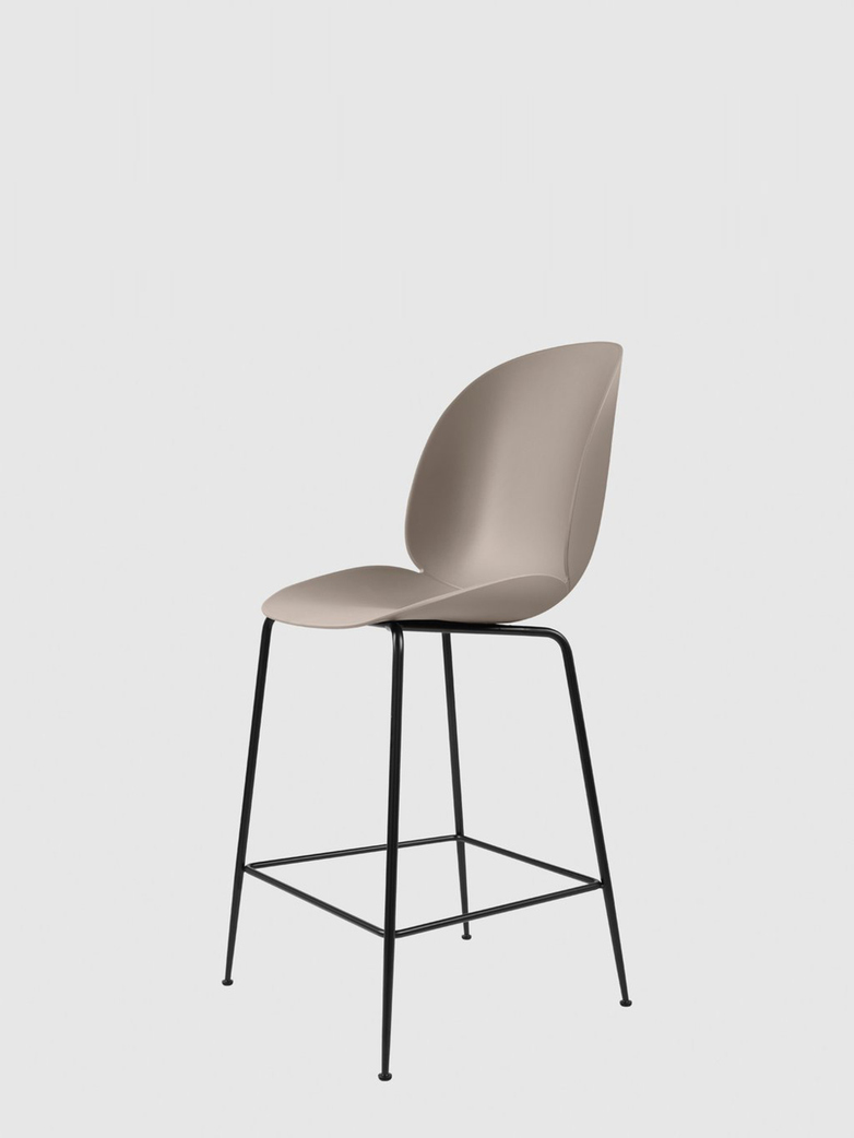 Beetle Bar Chair – Conic Black Base – New Beige – 63