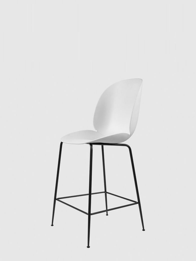 Beetle Bar Chair – Conic Black Base – White – 63