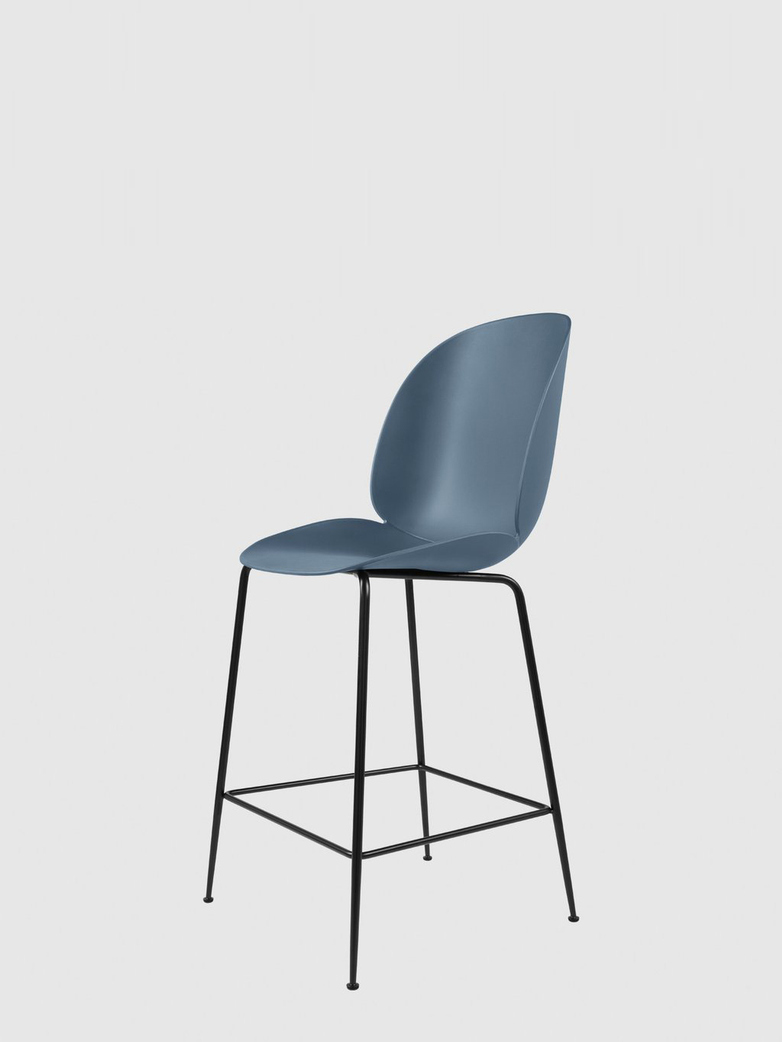 Beetle Bar Chair – Conic Black Base – Blue – 63