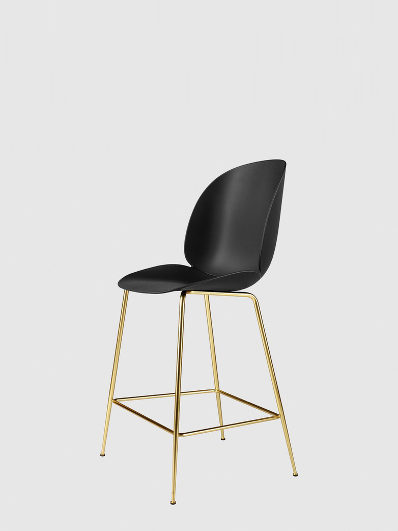 Beetle Bar Chair – Conic Brass Base – Black – 63