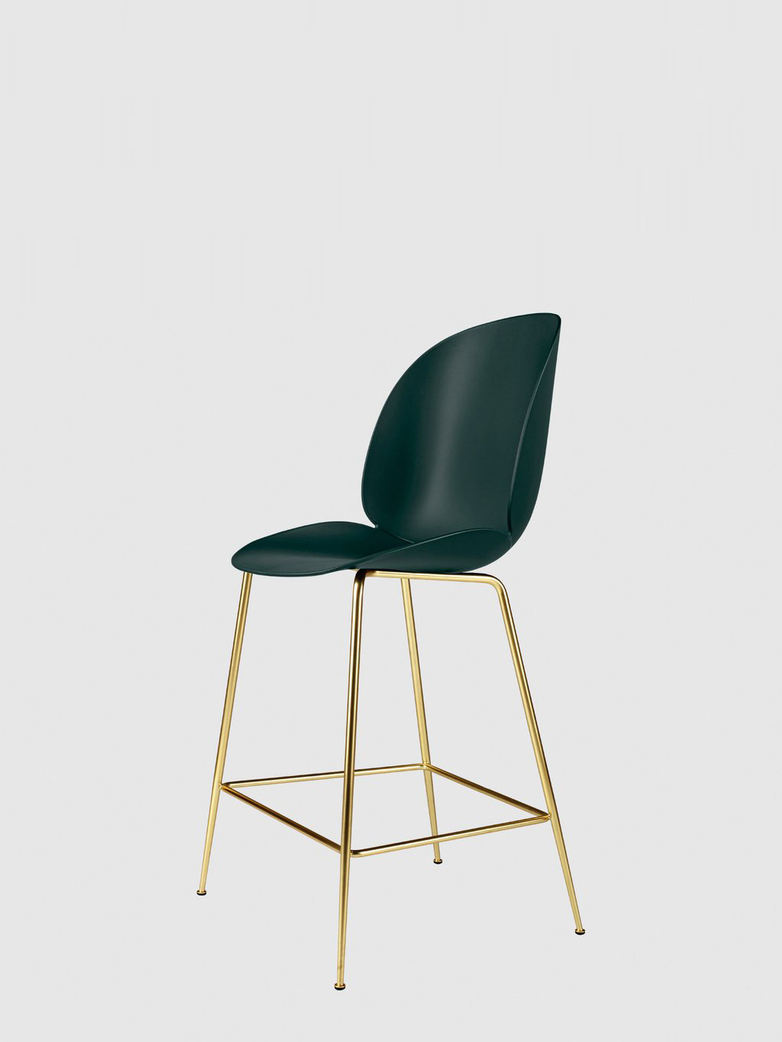 Beetle Bar Chair – Conic Brass Base – Dark Green – 63