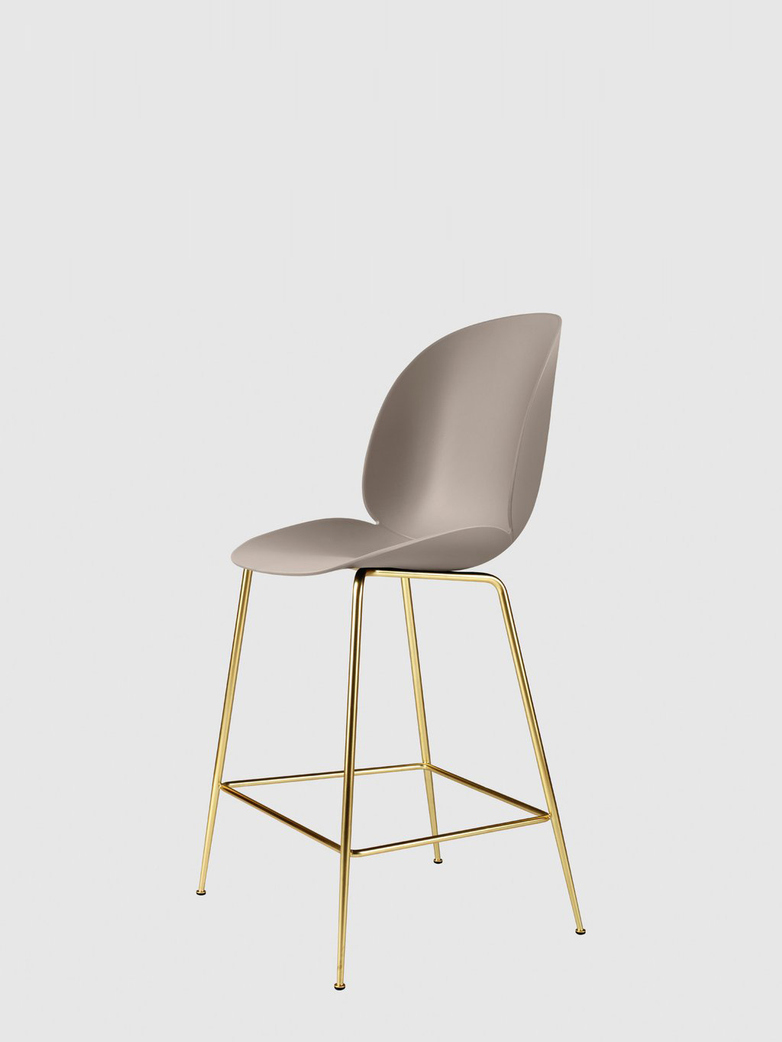 Beetle Bar Chair – Conic Brass Base – New Beige – 63