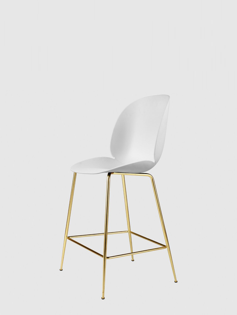 Beetle Bar Chair – Conic Brass Base – Pure White – 63