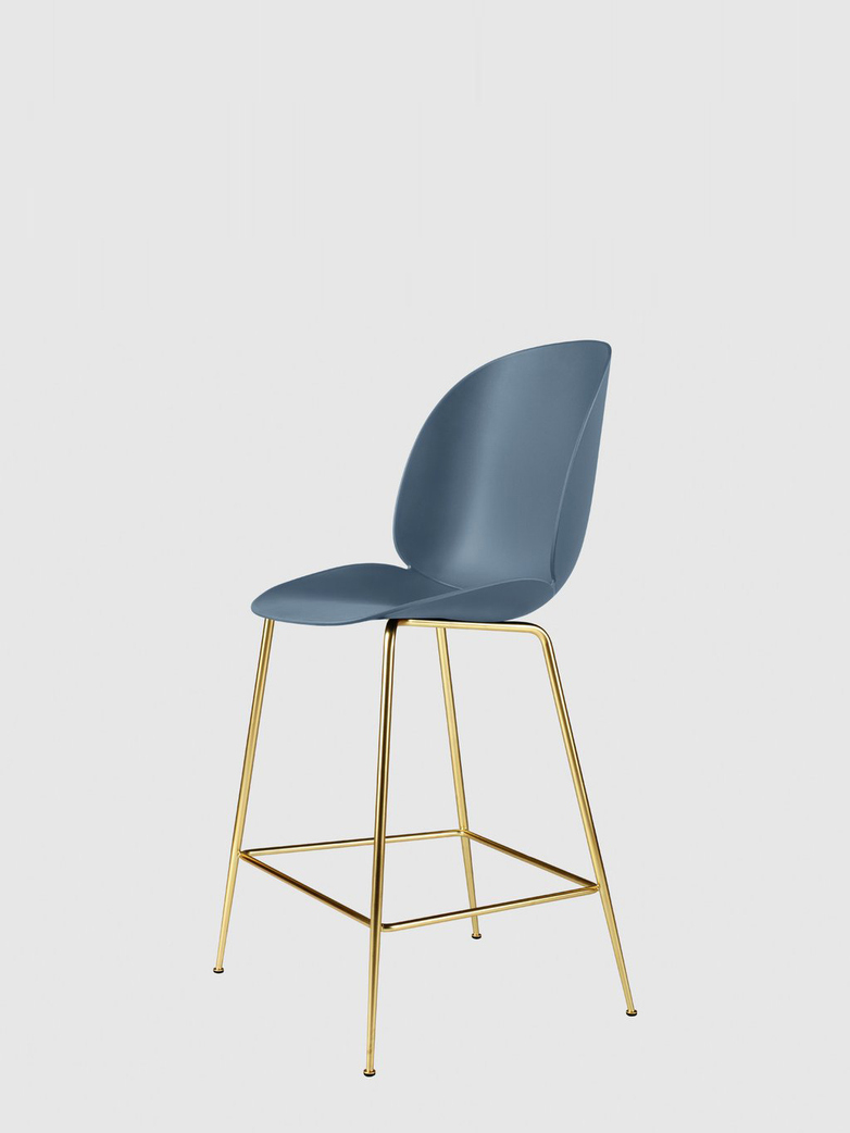 Beetle Bar Chair – Conic Brass Base – Blue – 63