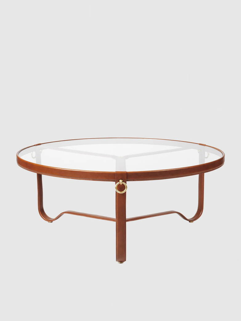 Adnet Coffee Table – Brown Leather - Large